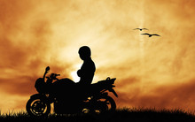 Wall Mural - motorcyclist at sunset