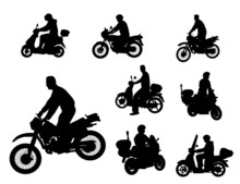 Wall Mural - motorcyclists silhouettes
