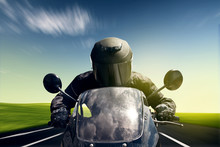Wall Mural - Speeding Motorbike