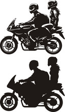 Wall Mural - couple on motorcycle